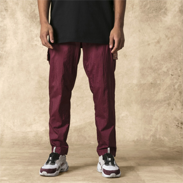 PUMA x LES BENJAMINS Men's Track Pants, Burgundy, large