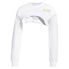 Thumbnail 1 of PUMA x SOPHIA WEBSTER Women's Cropped Crewneck Sweatshirt, Puma White, medium