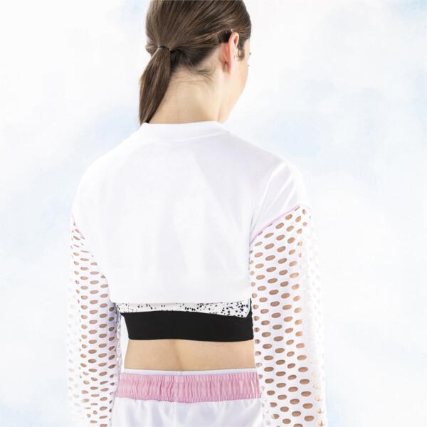 PUMA x SOPHIA WEBSTER Women's Cropped Crewneck Sweatshirt, Puma White, large