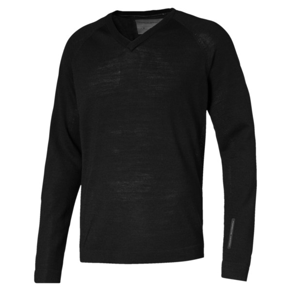 Sweat Porsche Design evoKNIT V Neck pour homme, Jet Black, large