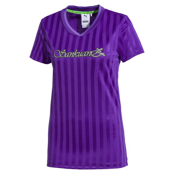 PUMA x SANKUANZ Women's Jersey Tee, ELECTRIC PURPLE, large