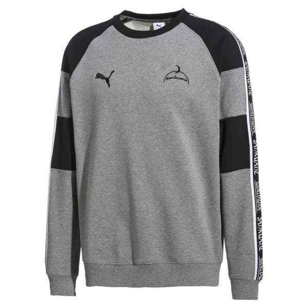 PUMA x SANKUANZ Crew Neck Pullover, Medium Gray Heather, large