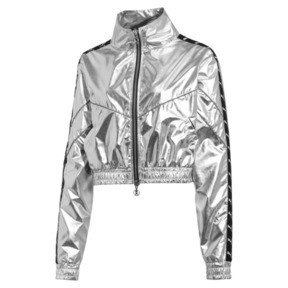 Thumbnail 1 of PUMA x THE KOOPLES Cropped Zip-Up Women's Track Top, Silver, medium
