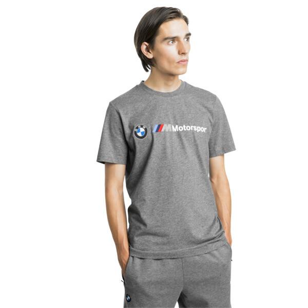 BMW M Motorsport Men's Logo Tee, Medium Gray Heather, large