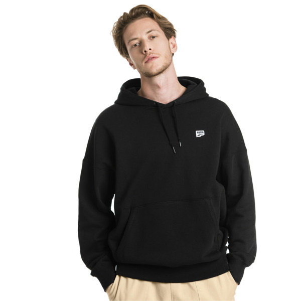 Downtown Knitted Men's Hoodie, Cotton Black, large