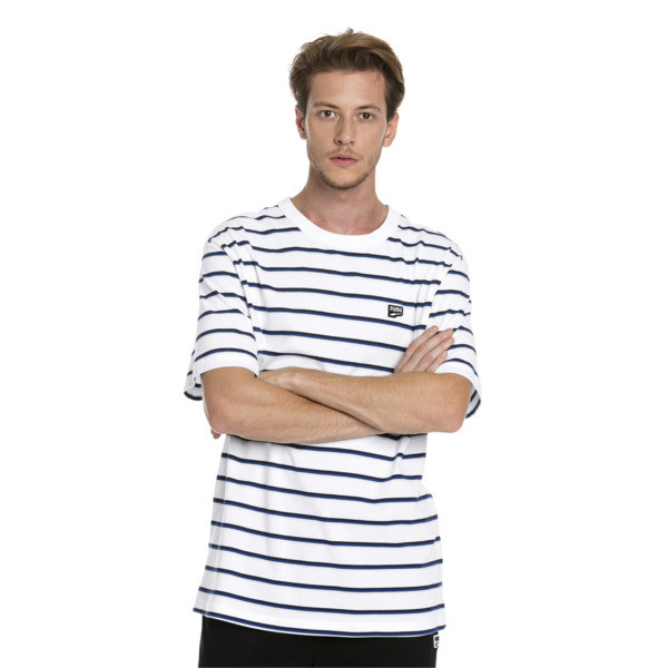 Downtown Striped Men's Tee, Puma White, large