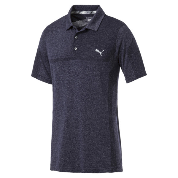 evoKNIT Breakers Men's Golf Polo, Peacoat Heather, large