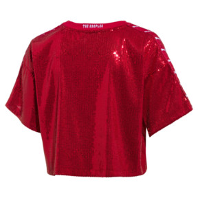 Thumbnail 2 of PUMA x THE KOOPLES Women's Sequin Crop Top, High Risk Red, medium