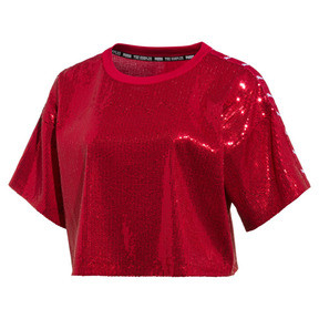 Thumbnail 1 of PUMA x THE KOOPLES Women's Sequin Crop Top, High Risk Red, medium