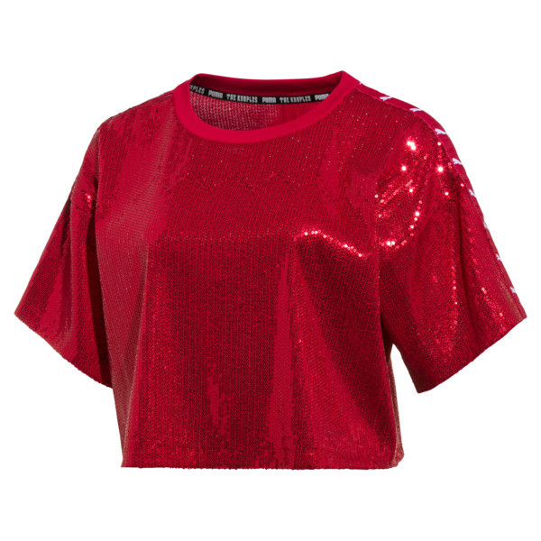PUMA x THE KOOPLES Women's Sequin Crop Top, High Risk Red, large