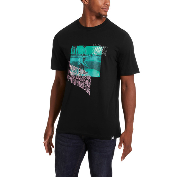 Downtown Beach Men's Graphic Tee, Cotton Black, large