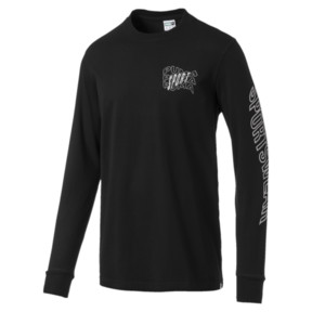 Thumbnail 1 of Downtown Men's Long Sleeve Graphic Tee, Cotton Black, medium