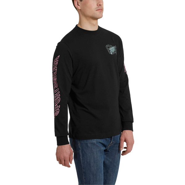 Downtown Men's Long Sleeve Graphic Tee, Cotton Black, large