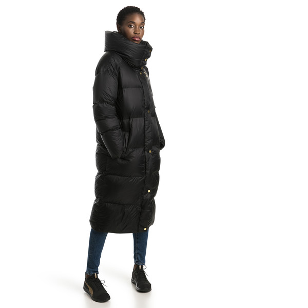 Longline Women's Down Coat, Puma Black, large
