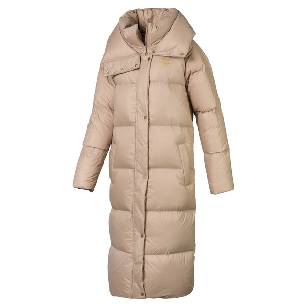 Longline Women's Down Coat, Brush, large
