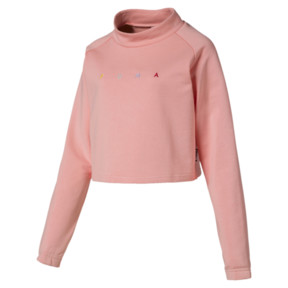 Thumbnail 2 of Fierce Cat Women's Cropped Crewneck Sweatshirt, Peach Bud, medium