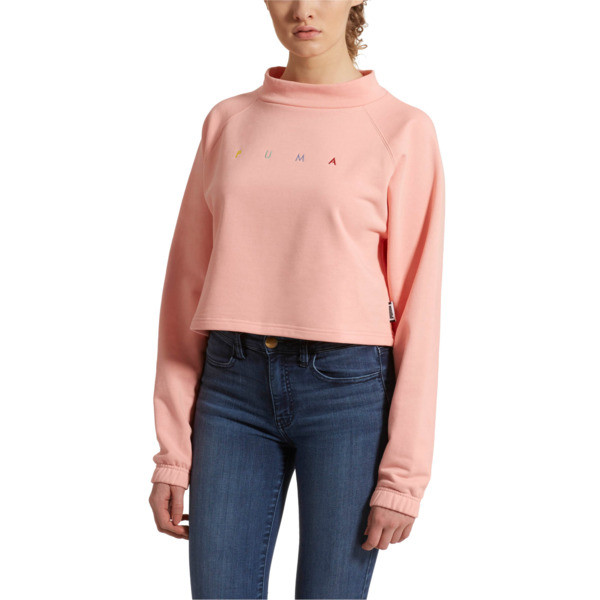 Fierce Cat Women's Cropped Crewneck Sweatshirt, Peach Bud, large