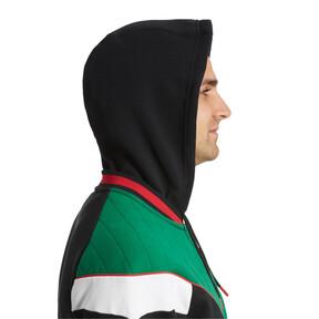 Thumbnail 3 of Lux Men's MCS Hooded Track Jacket, Blk-Verdant Grn-Wht-Toreador, medium