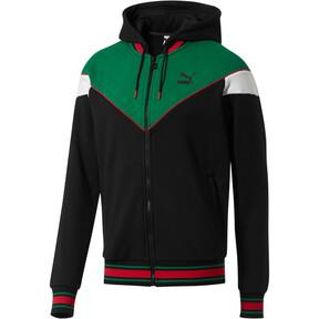 Thumbnail 1 of Lux Men's MCS Hooded Track Jacket, Blk-Verdant Grn-Wht-Toreador, medium