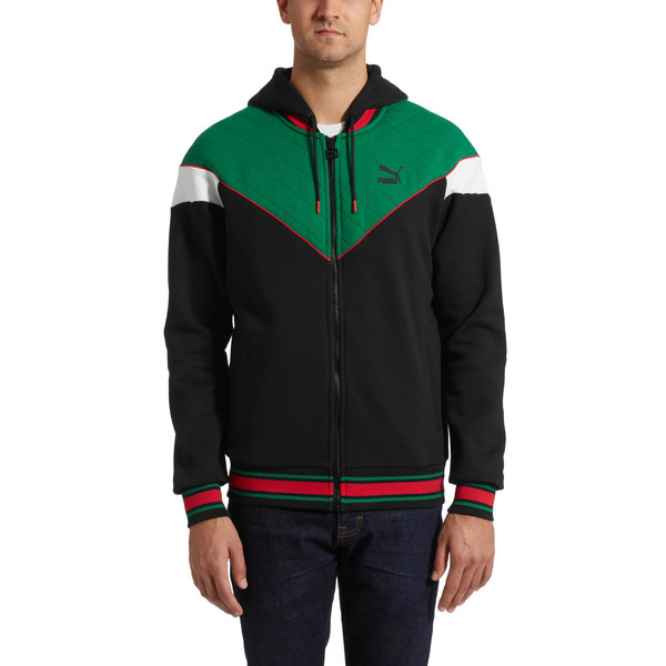 Lux Men's MCS Hooded Track Jacket, Blk-Verdant Grn-Wht-Toreador, large