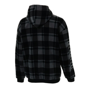 Thumbnail 2 of CHECK SHERPA HOODY, Puma Black-check, medium-JPN