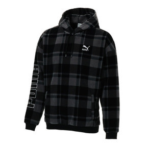 Thumbnail 1 of CHECK SHERPA HOODY, Puma Black-check, medium-JPN