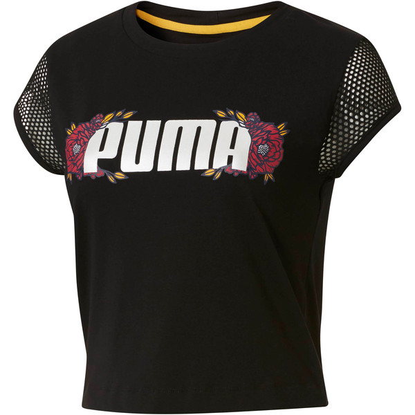 Flourish Women's Fashion Tee, Puma Black-Gold Fusion, large