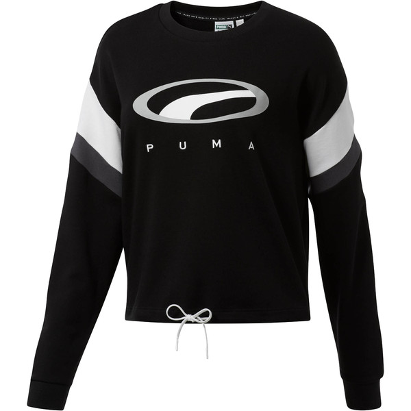 90s Retro Women's Crewneck Sweatshirt, Cotton Black, large