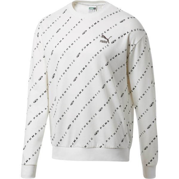 90s Retro AOP Men's Crew Neck Sweatshirt, Puma White, large