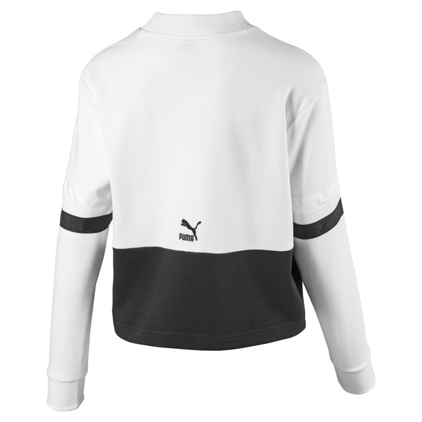 Women's Sweater, Puma White-Cotton Black, large
