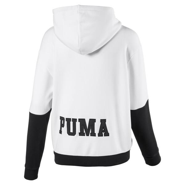 Full Zip Women's Hoodie, Puma White-Cotton Black, large
