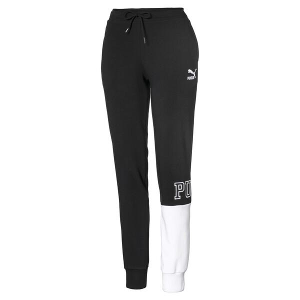 Cuffed Women's Pants, Cotton Black, large