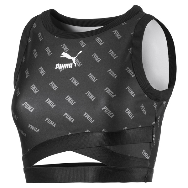 All-Over Printed Cropped Women's Top, Puma Black, large