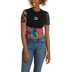 Thumbnail 2 of Clash Women's AOP HS Top, Cotton Black-AOP, medium