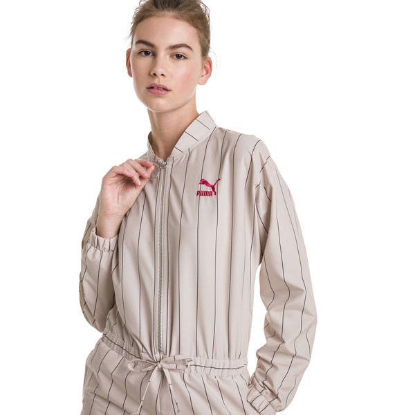Woven Zip-Up Women's Jumpsuit, Oatmeal, large