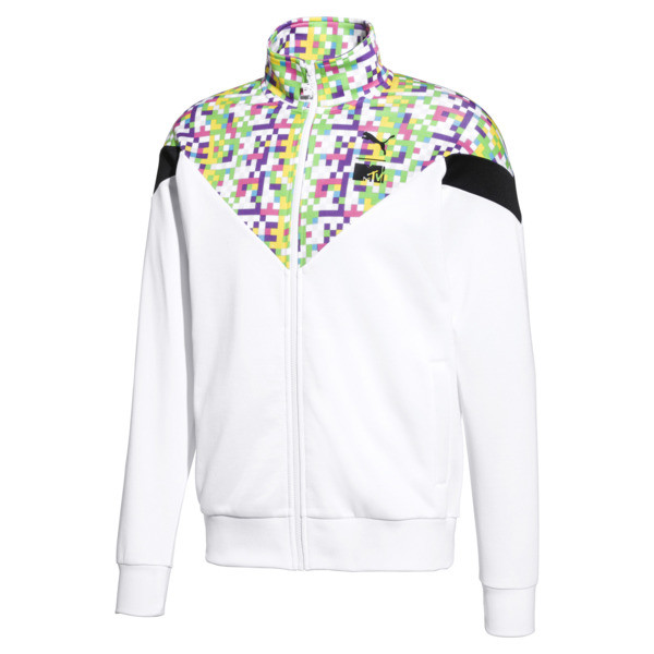 PUMA x MTV MCS All-Over Printed Zip-Up Men's Track Top, Puma White-AOP, large