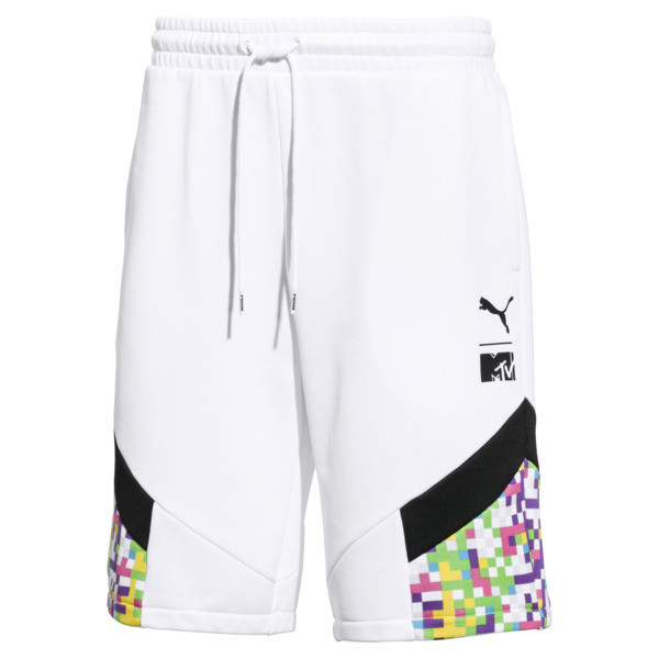 PUMA x MTV Men's Track Shorts, Puma White-AOP, large