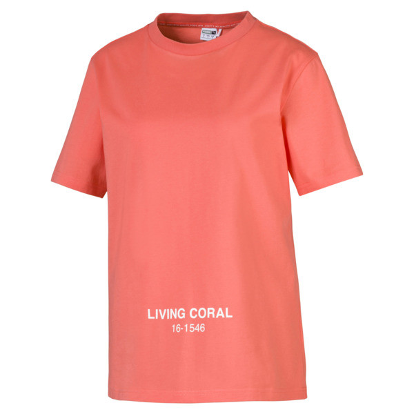 PUMA x PANTONE Women's Tee, Transparent-Living Coral, large