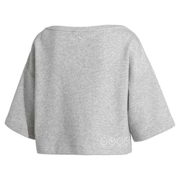 Sweatshirt court à manches courtes PUMA x SELENA GOMEZ pour femme, Light Gray Heather, large