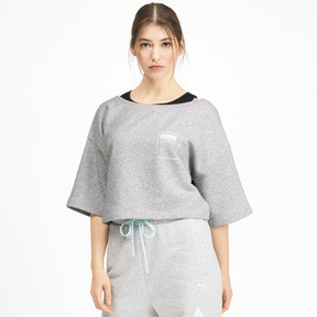 Thumbnail 1 of Sweatshirt court à manches courtes PUMA x SELENA GOMEZ pour femme, Light Gray Heather, medium