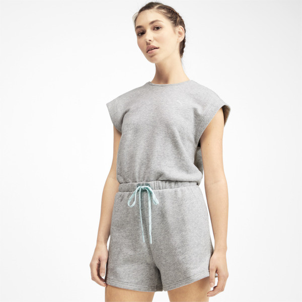 PUMA x SELENA GOMEZ Women's Romper, Light Gray Heather, large