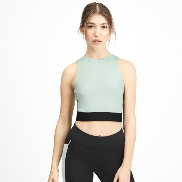 PUMA x SELENA GOMEZ Sleeveless Women's Crop Top, Fair Aqua-Puma Black, large