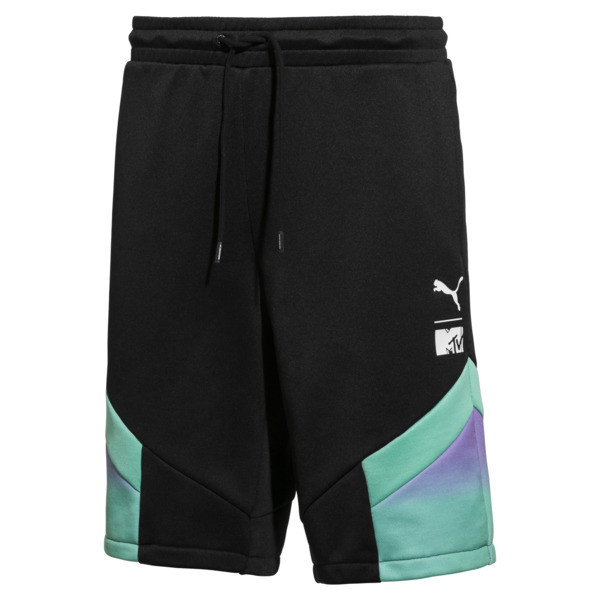 PUMA x MTV MCS Allover-Print Herren Shorts, Puma Black-AOP, large
