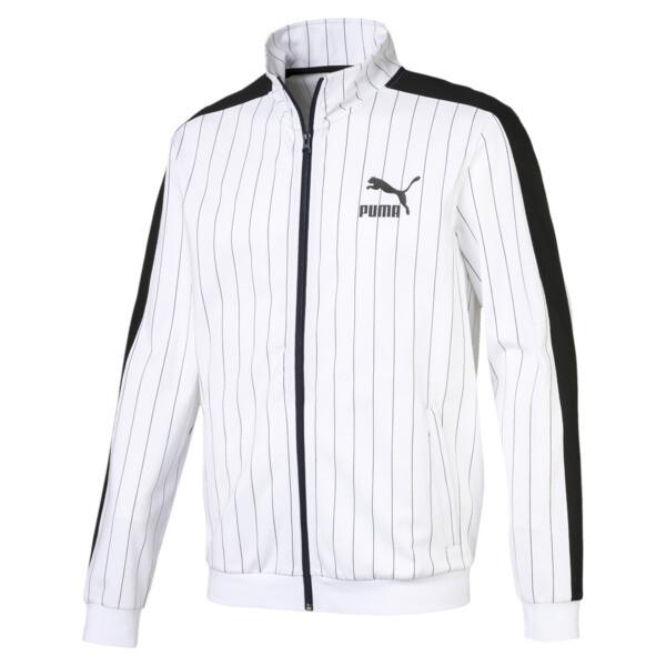 Pinstripe Men's T7 Track Jacket, Puma White-AOP, large