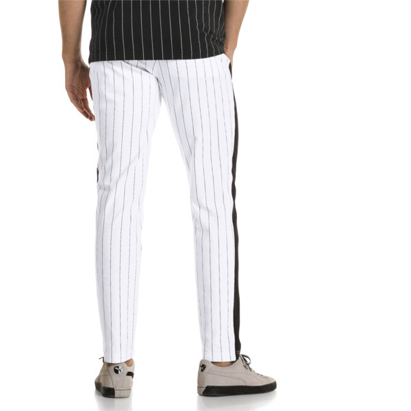 Pinstripe Men's T7 Track Pants, Puma White-AOP, large