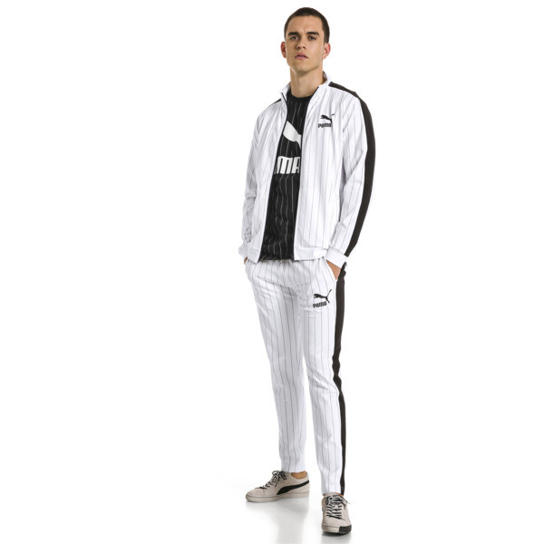 Archive Pinstripe T7 Men's Track Pants, Puma White-AOP, large