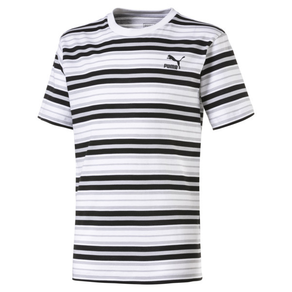 Gestreiftes Kinder T-Shirt, Puma Black-white AOP, large