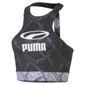 Thumbnail 1 van Snake Pack crop top voor vrouwen, Puma Black-AOP, medium