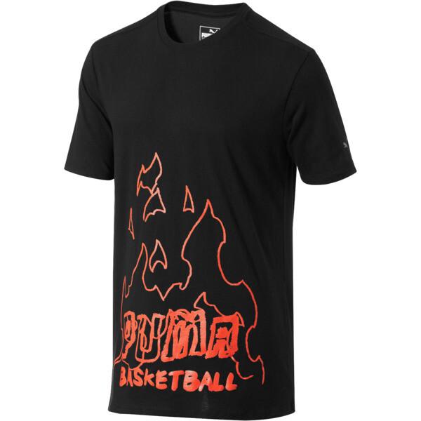 PUMA Basketball Fire Tee, Puma Black-red print, large