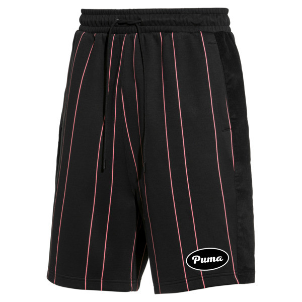 PUMA 91074 Men's Striped Shorts, Puma Black--AOP, large
